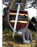 Helmet, sword and shield leaning against a tree